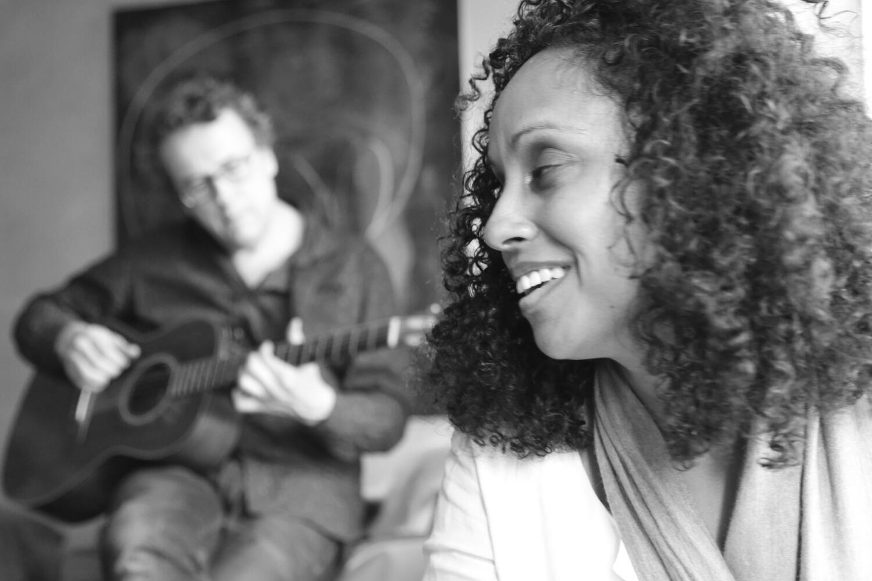 Susheela Raman in rehearsal with Sam Mills