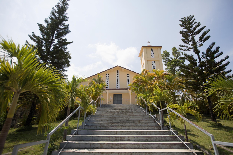 Kanisa la St Rock ambapo kasisi wa Ufaransa, ambaye alitekwa nyara Jumapili pamoja na makasisi wengine, Port-au-Prince, Haiti Aprili 12, 2021.