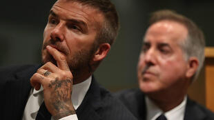 David Beckham and Jorge Mas (R), whose Inter Miami MLS club has been fined $2 million for roster and salary rules violations in the singing of French World Cup-winner Blaise Matiudi