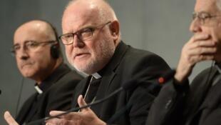 Le cardinal allemand Reinhard Marx durant une conférence de presse en octobre 2015, au Vatican.