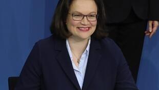 Andrea Nahles, présidente du SPD.