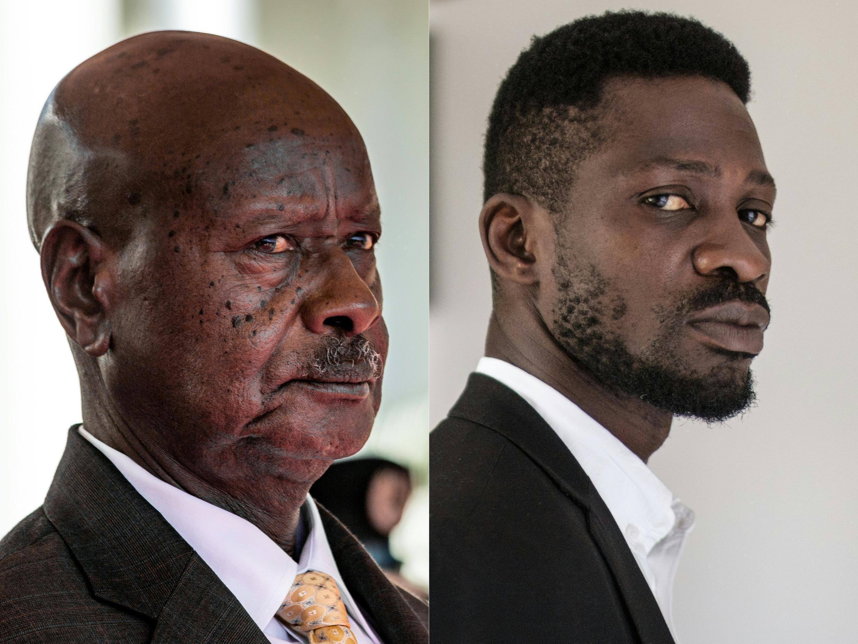 Contenders: President Yoweri Museveni, left, and musician-turned-politician Robert Kyagulanyi, also known as Bobi Wine
