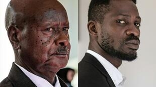 Contenders: President Yoweri Museveni, left, and musician-turned-politician Robert Kyagulanyi, also known as Bobi Wine