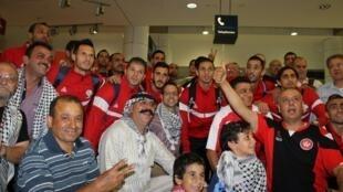L'équipe de football de Palestine à son arrivée à Sydney (Australie), le 31 décembre 2014.