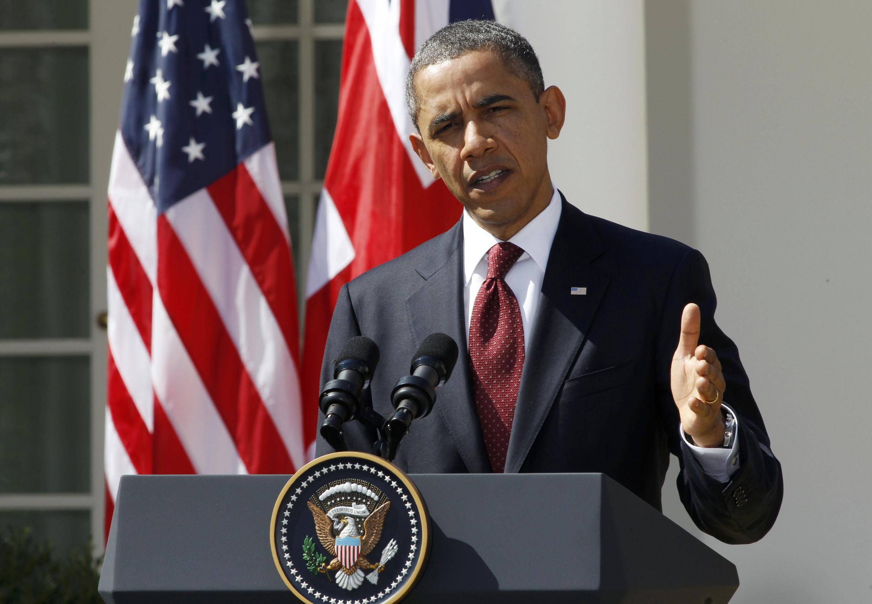 Tổng thống Mỹ Barack Obama phát biểu trong một cuộc họp báo
