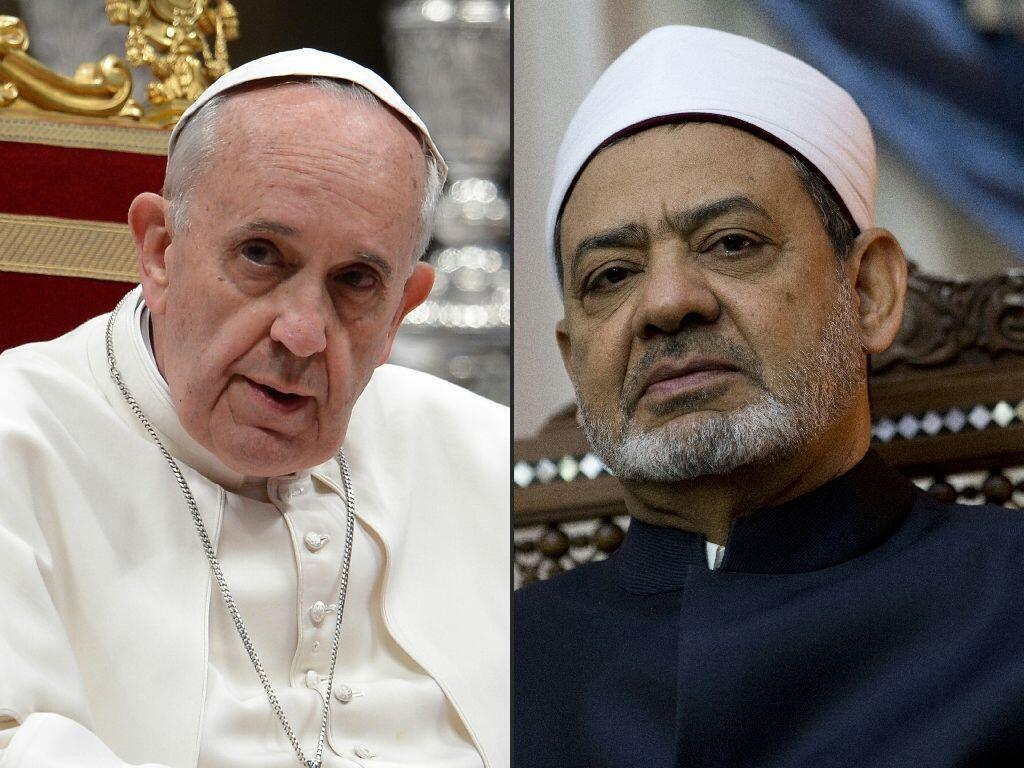 Shugaban mabiya darikar Katolikan na Duniya Paparoma Francis da babban limamin jami'ar Azhar ta Masar