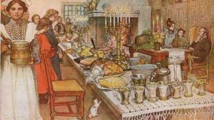 Cena de Navidad. Cuadro de Carl Larsson (1904 -1905).