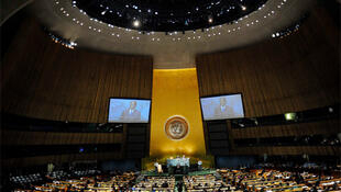 Zimbabwe's President Robert Mugabe addresses the UN General Assembly in New York, 24 September 2010.