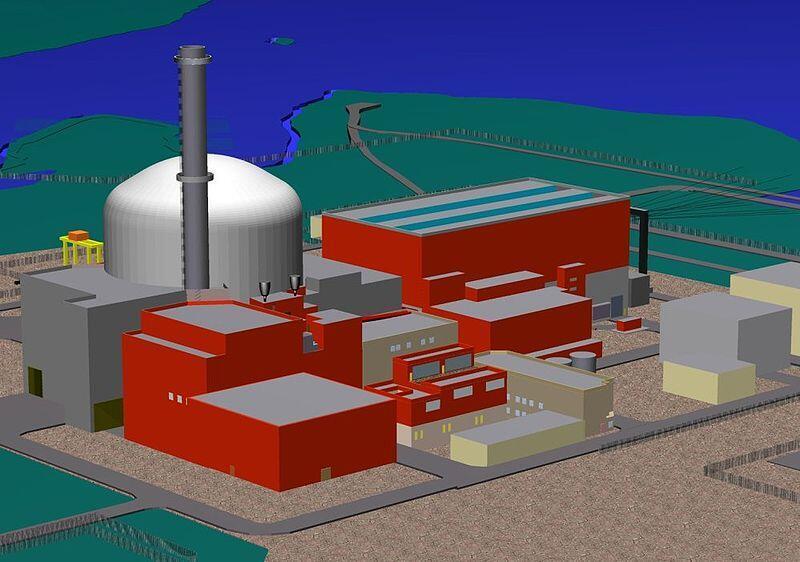 Mô hình lò phản ứng nguyên tử thế hệ thứ ba sử dụng nước nhẹ EPR của châu Âu.