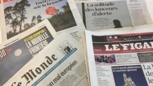 Primeiras páginas dos diários franceses 25-10-2018