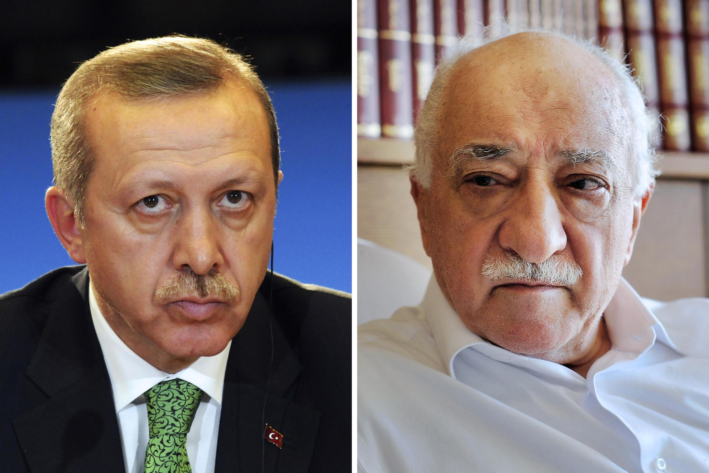 Le président turc Recep Tayyip Erdogan (gauche) et le leader religieux Fethullah Gülen, exilé aux Etats-Unis.