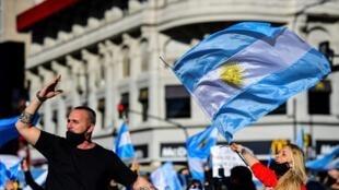 Protesto em Buenos Aires, em 17 de agosto, contra o lockdown na Argentina.