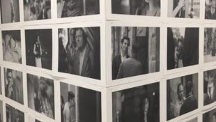 向振華巴黎個展展廳一角:130張圖片紀念巴黎2015年系列恐襲中的遇難者