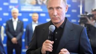 В.Путин в штабе ЕР 18 сентября 2016.