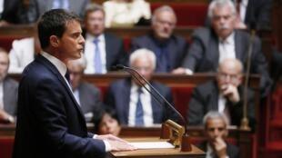 Le Premier ministre Manuel Valls lors de son discours de politique générale à l'Assemblée nationale, le 16 septembre 2014.