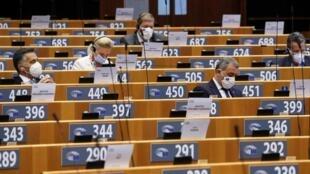 Les députés européens au sein du parlement à Bruxelles, le 15 septembre 2020.