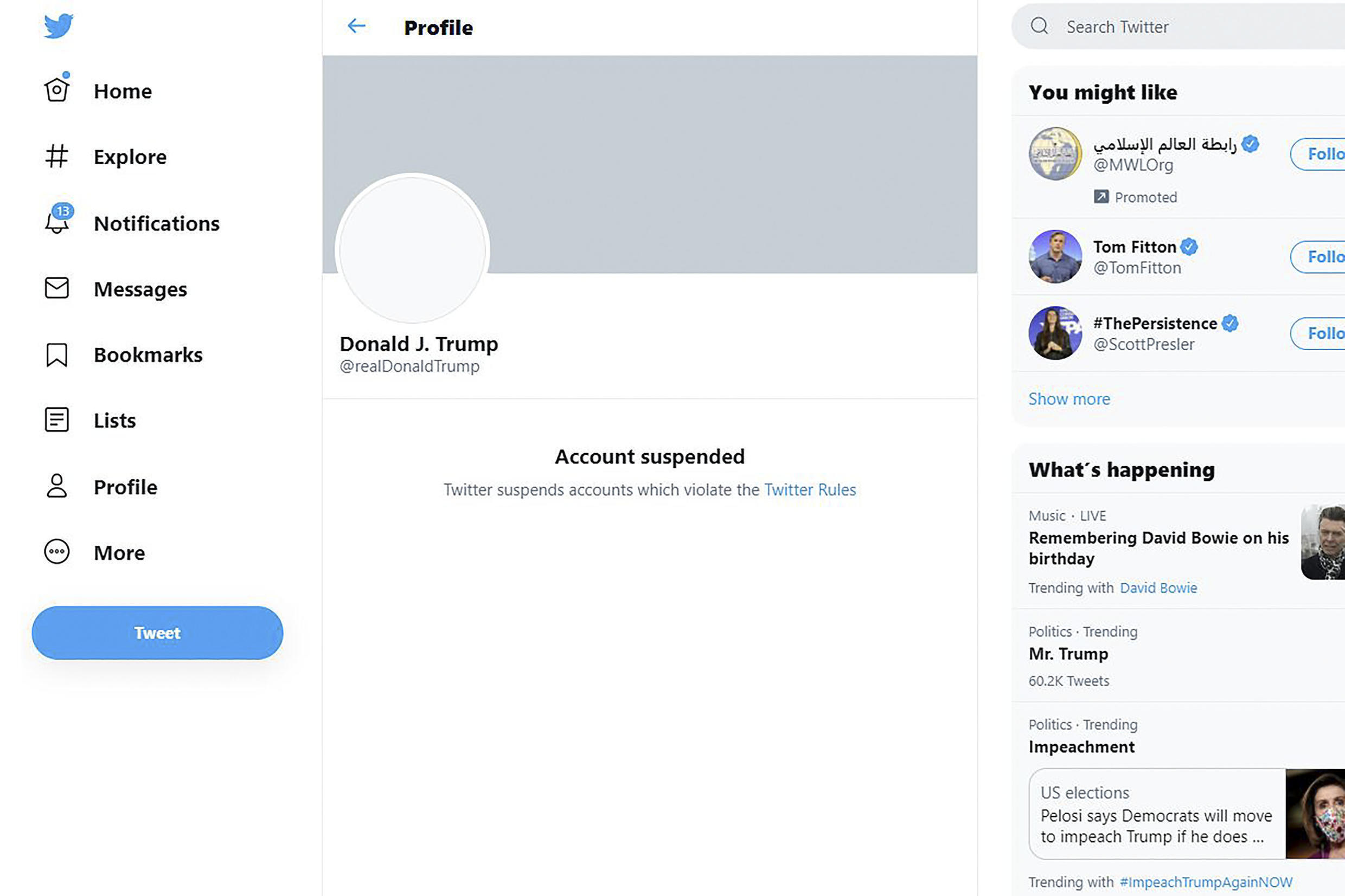 This screen grab shows the suspended Twitter account of US President Donald Trump on January 8, 2021
