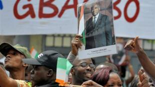 Des supporters du président ivoirien, Laurent Gbagbo.
