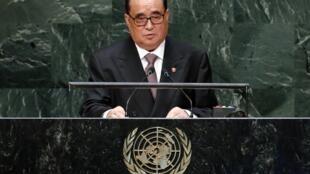 Ngoại trưởng Bắc Triều Tiên Ri Su Yong tại Liên Hiệp Quốc, New York ngày 27/09/2014.