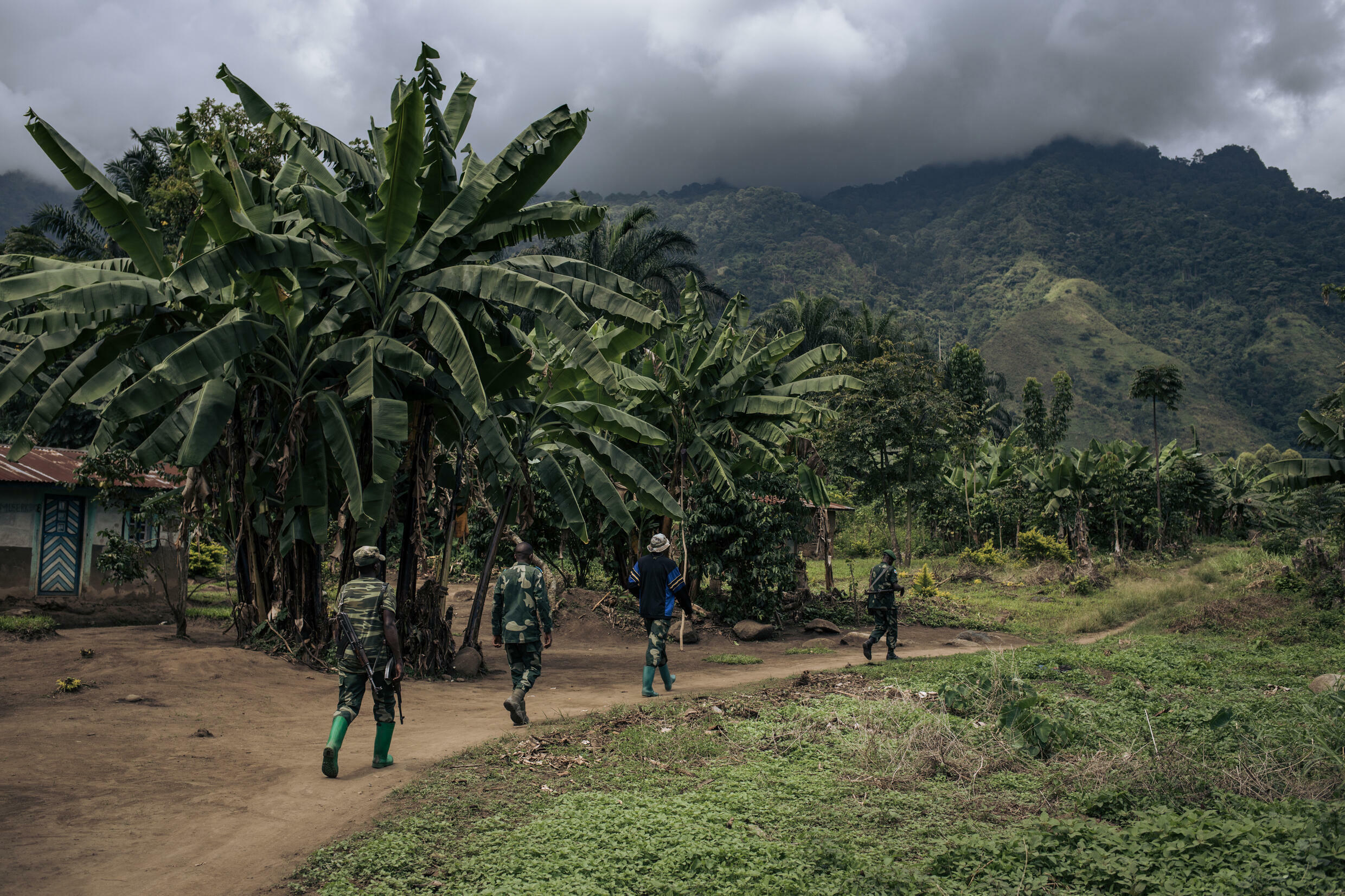 Congolese troops patrolling the village of Mwenda earlier this year. The village lies in an area that is notorious for attacks by the Allied Democratic Forces (ADF)