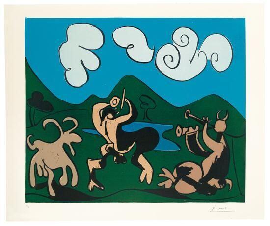 Pablo Picasso, Faunes et chèvres, 1959 linogravure en couleurs BnF, Estampes et photographie.