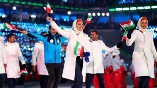 ورزشکاران ایرانی در مراسم افتتاحیه مسابقات المپیک ۲۰۱۸ کره جنوبی
