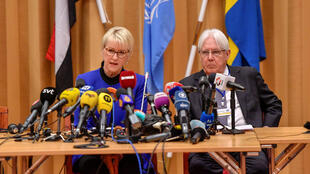 wedish Foreign Minister Margot Wallstrom and U.N. envoy to Yemen Martin Griffiths attend the opening press conference on U.N.-sponsored peace talks for Yemen at Johannesberg castle, in Rimbo, Sweden December 6, 2018.