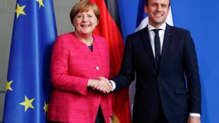 Chanceler Angela Merkel acollhe em Berlim o Presidente da França, Emmanuel Macron. 15 de Maio de 2017