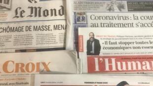 Primeiras páginas dos diários franceses esta sexta-feira, 27 de Março de 2020