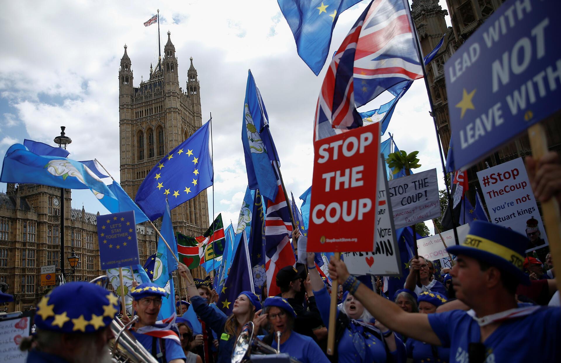 Manifestation anti-Brexit devant le Parlement à Londres, en Grande-Bretagne, le 3 septembre 2019.