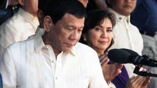 菲律宾总统杜特尔特与副总统莱妮⋅罗布雷资料图片