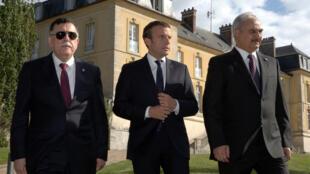 法國總統馬克龍與利比亞兩大派領袖在巴黎