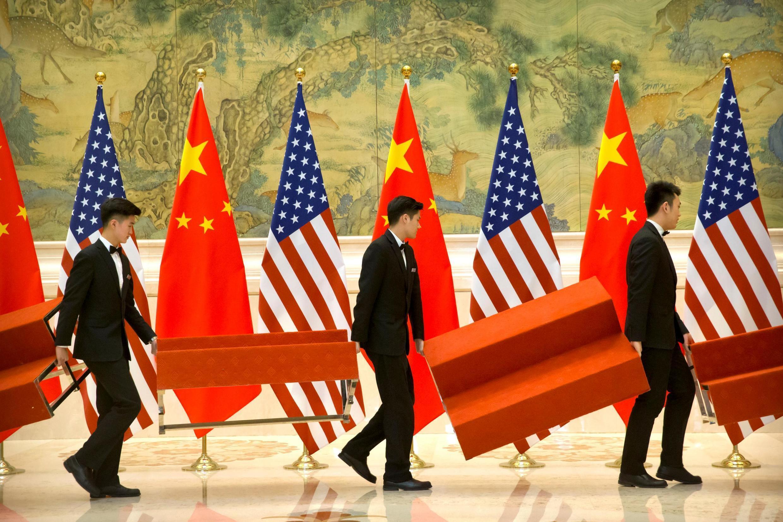 北京釣魚台國賓館為美中貿易談判代表團成員合影搭建平台 2019年2月15日