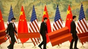 北京钓鱼台国宾馆为美中贸易谈判代表团成员合影搭建平台 2019年2月15日