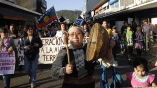 Une manifestation de Chiliens mapuches à Temuco, à 675 kilomètres au sud de Santiago, le 3 janvier 2013.