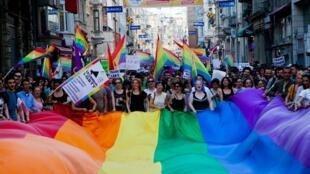 Manifestation pour les droits des minorités sexuelles, à Istanbul, le 23 juin 2013.