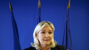 Marine Le Pen, la présidente du FN, lors de ses vœux à la presse, à Nanterre, le 7 janvier 2016.