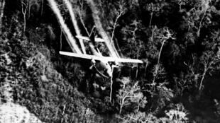 Épandage de l'agent orange par un avion américain pendant la guerre du Vietnam.