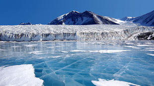 The blue ice covering Lake Fryxell, in the Transantarctic Mountains, Antarctica.