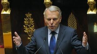 France's Prime Minister Jean-Marc Ayrault delivers his speech