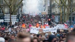 تظاهرات علیۀ لایحۀ قانون کار در شهر «نانت» در غرب فرانسه