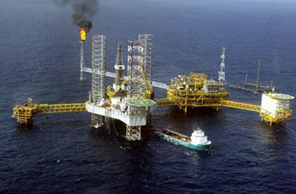 Vista aérea da plataforma petrolífera de Amenam no Delta do Níger.