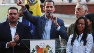 Venezuela : Lãnh đạo đối lập Juan Guaido vận động quần chúng xuống đường, Caracas, ngày 05/04/2019.
