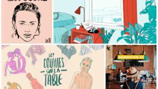 Collage : La poudre, Un podcast à soi, Les couilles sur la table, Génération XX.