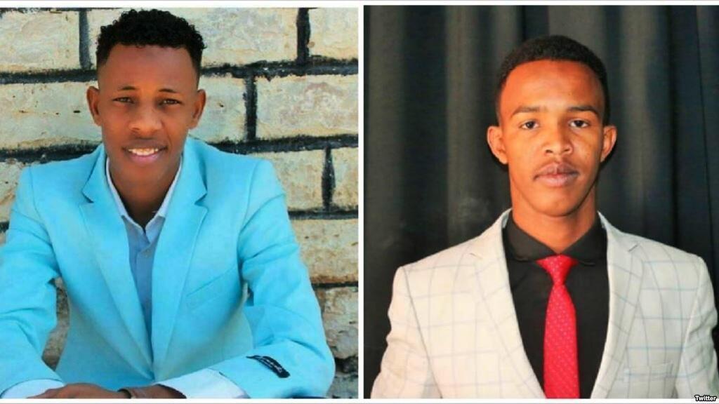 Mwandishi wa habari wa SBS Mohamed Ahmed Jama Bidhanshe na Abdirahman Keyse Tungub, mwandishi wa habari wa Bulsho TV.