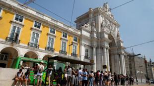 Praça do Comércio em Lisboa, Portugal, agosto de 2018.