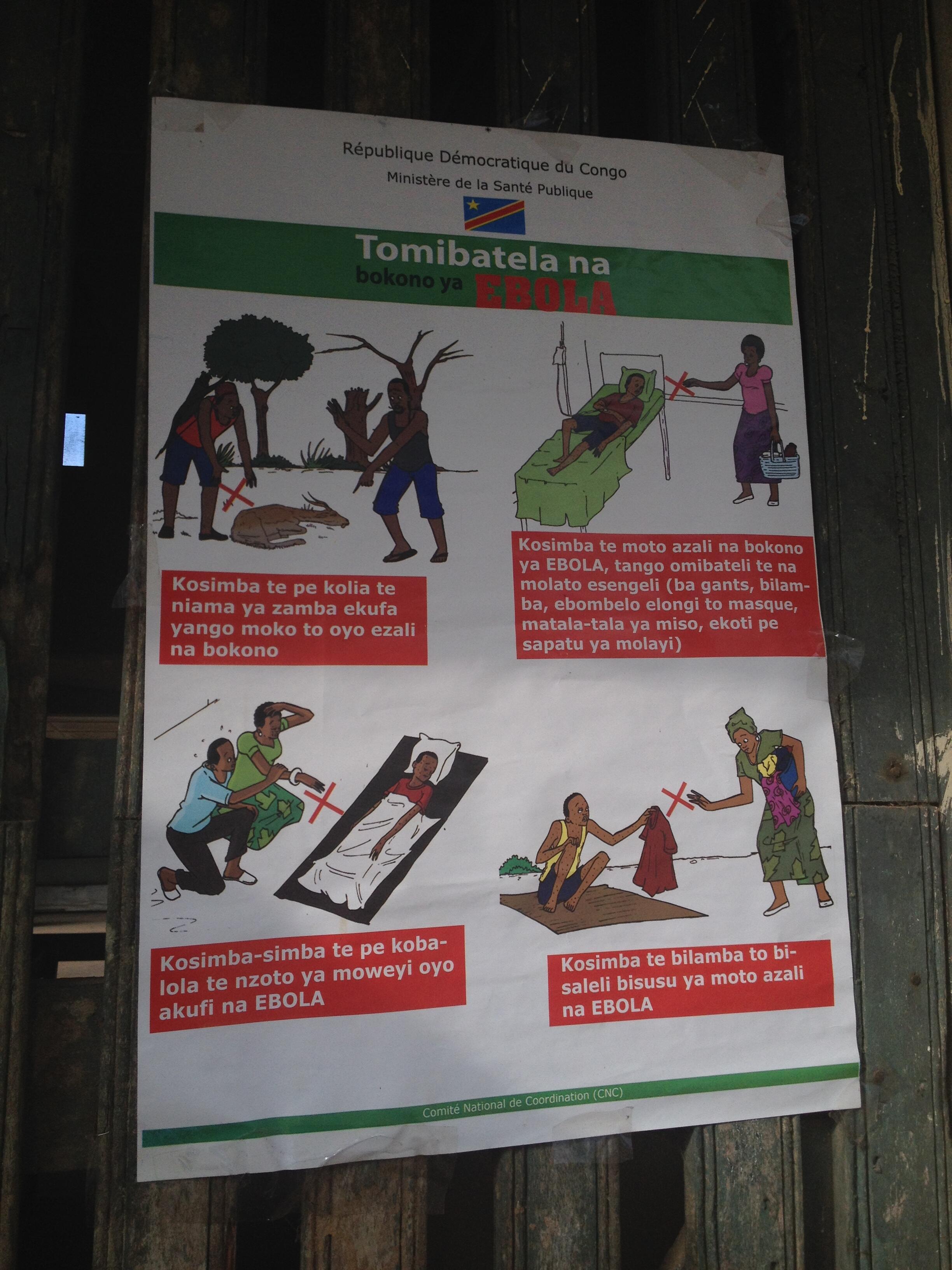 Affiche de sensibilisation au virus Ebola.