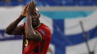 Romelu Lukaku, l'attaquant belge, après la victoire des Diables Rouges contre la Finlande à Saint Petersbourg, en Russie le 21 juin 2021.