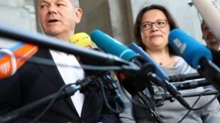 آندرآ نالس و اولاف شولتس، رئیس و قائم مقام حزب سوسیال دموکرات