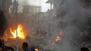 Un attentat à la voiture piégée a fait 5 morts et une trentaine de blessés dans le quartier de Daf Chawk. Damas, le 26 octobre 2012.